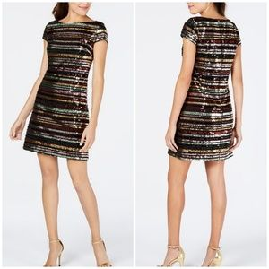 NWT Vince Camuto Sequin Striped Shift Dress 10